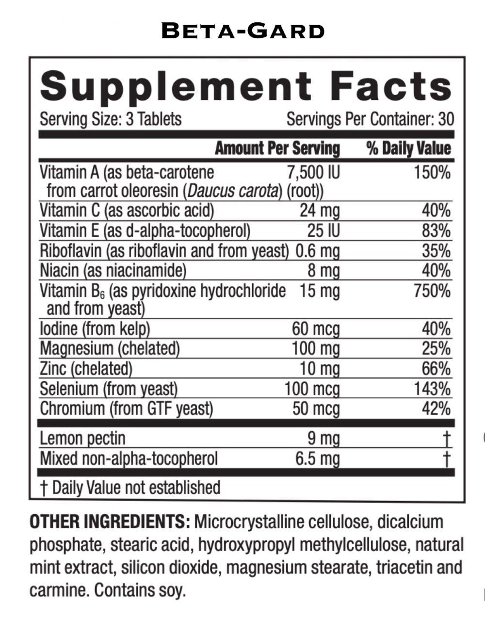 Betagard ingredients