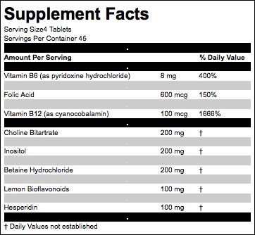Lipotropic ingredients