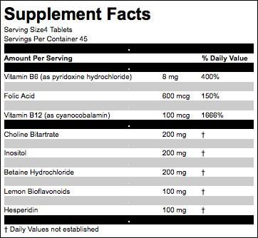 Lipotropic ingredients