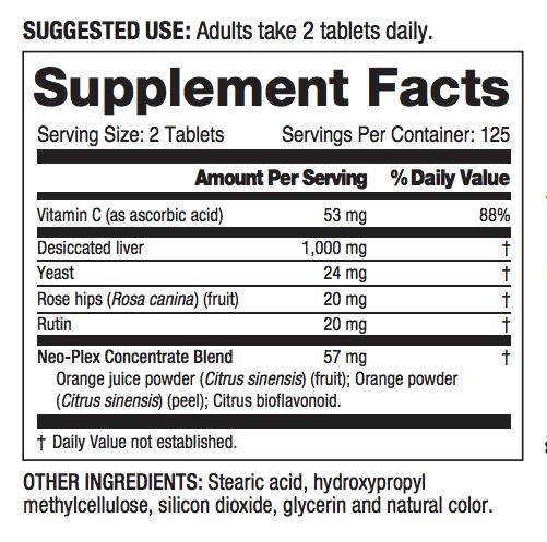 Liver Plus C ingredients